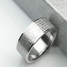 1 Pcs Nhẫn Chữ Thập Chữ Kinh Thánh Thép Titan Đồ Trang Sức Nhẫn Nữ Người Đàn Ông