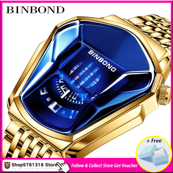 [With Box] Shop5781318 Store BINBOND 2020 New Mens Watch Luxury Brand Fashion Trend Large Plate Watch LED Waterproof Calendar Luminous Stainless Steel Business Leisure Electronic Watch Clock Gift Malaysia