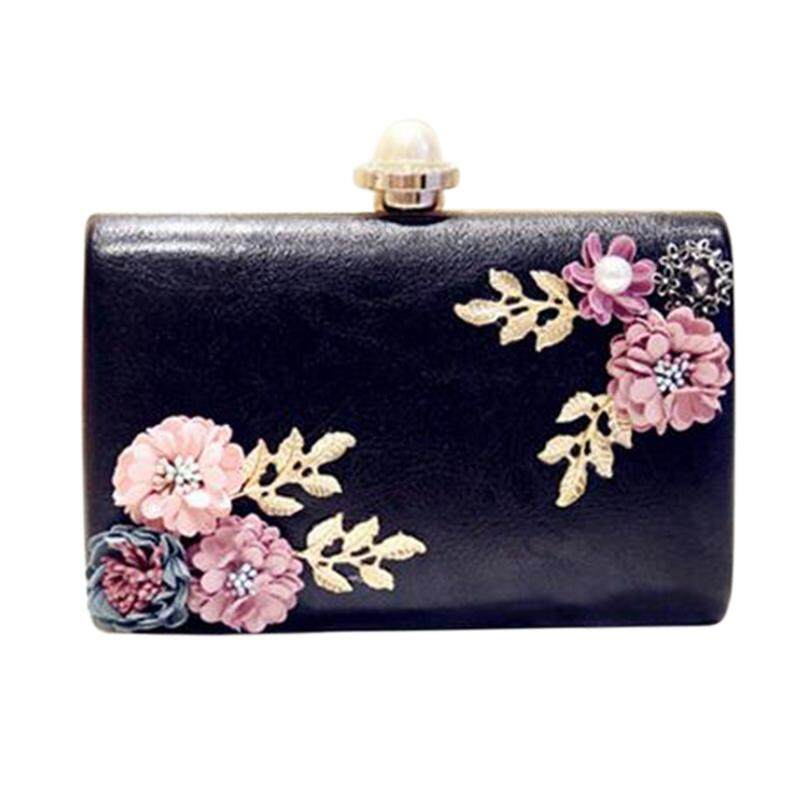 Women Handmade Flowers Evening Bags Mini Wedding Dinner Bags Luxury Clutch Purse With(Black)
