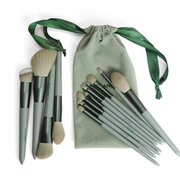 Bộ 13 cọ trang điểm MAANGE chuyên nghiệp màu xanh lá cây kèm túi đựng có dây rút - INTL nhập khẩu