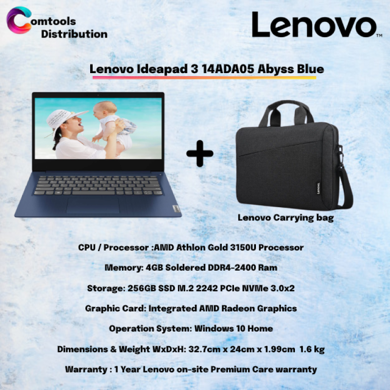 Lenovo Ideapad 3 14ADA05 81W0002FMJ / 81W0002GMJ 14 Laptop Abyss Blue / PLATINUM GREY ( Athlon Gold 3150U, 4GB, 256GB SSD, ATI, W10 ) Malaysia