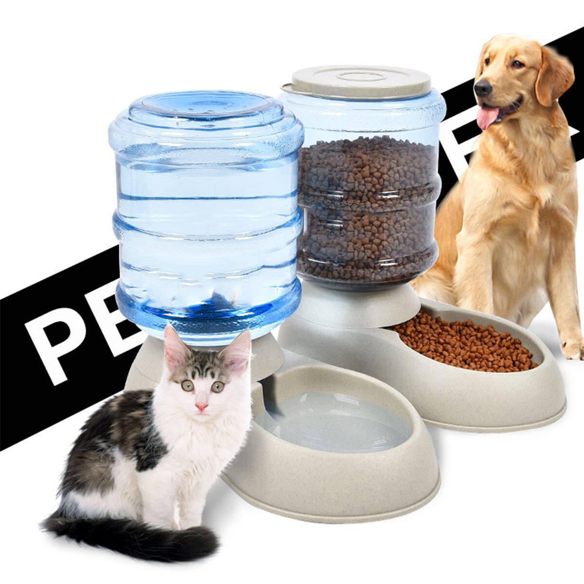 3 5l Pet Cat Dog Auto Water Drinker Food Feeder Dispenser Bekas Makanan Pets Animal Self Feeding Kucing Anjing Lazada