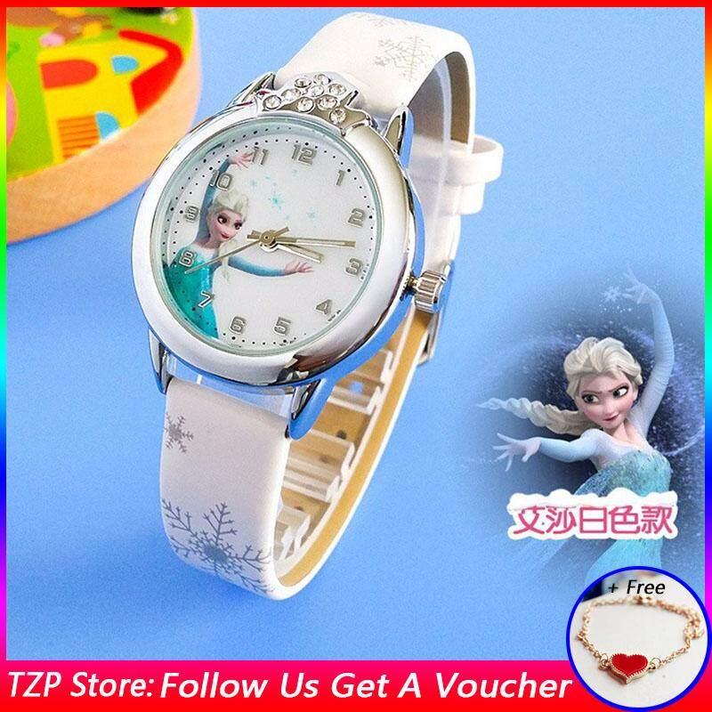 [Free Bracelet]TZP Store Hot Sale Girls Frozen Fashion Crystal Quartz Wrist Watch Faux Leather Band Watches Malaysia