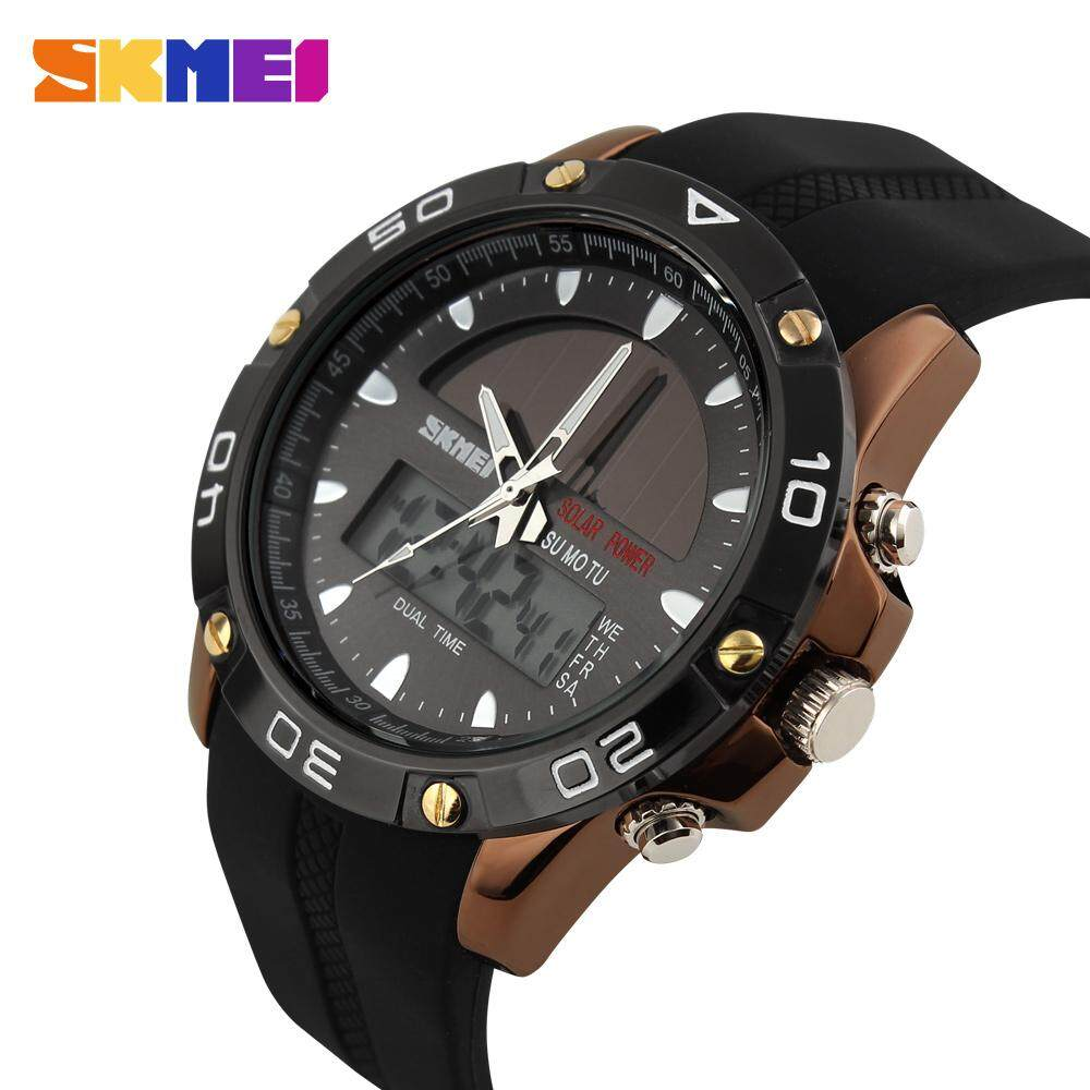 SKMEI Men Fashion Solar Watches Digital Sport Watch Dual Display Stopwatch  Quartz Waterproof Wristwatches Jam tangan 3f00543fc4