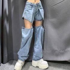 Quần jean nữ, ống rộng, vải mỏng, có thể tháo rời, phong cách cá tính, thời trang mùa hè – INTL