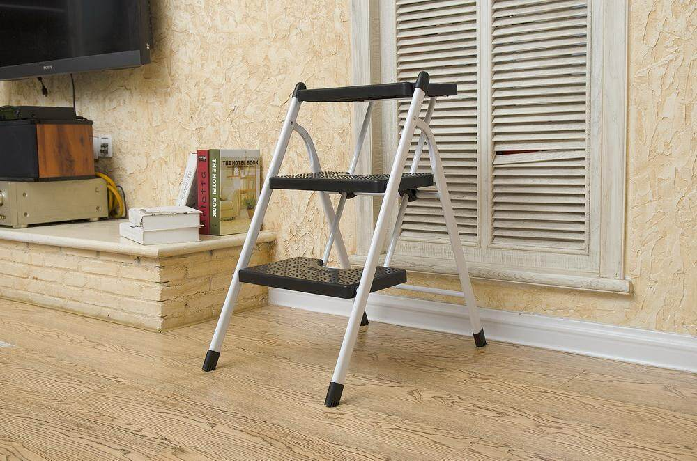 Lightweight Folding Step Ladder Anti-slip Sturdy and Wide Pedal Ladder Mini-Stool