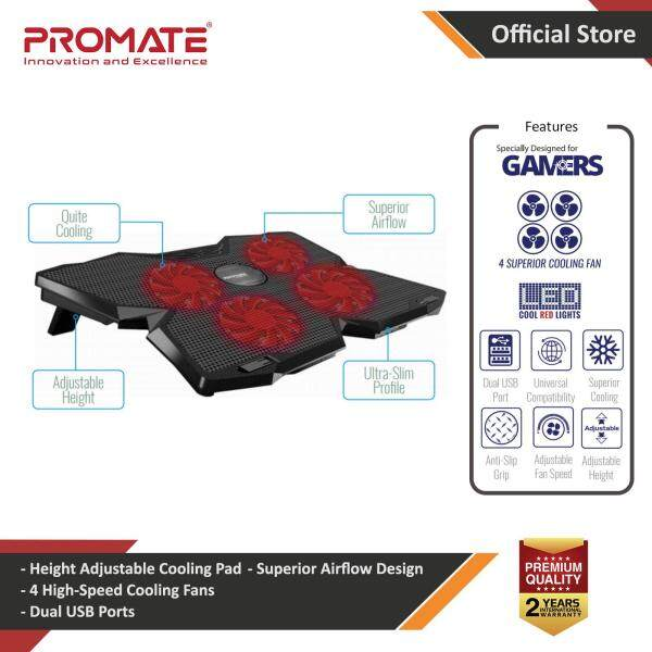 Promate Gaming Laptop Cooling Pad, Ergonomic High-Speed Laptop Cooling Pad with 4 Silent Cooling Fan, Dual USB Port, Adjustable Height, LED Speed Display, Cable Organizer and Ani-Slip Grip for Laptops up to 17 Inch, AirBase-3 Malaysia