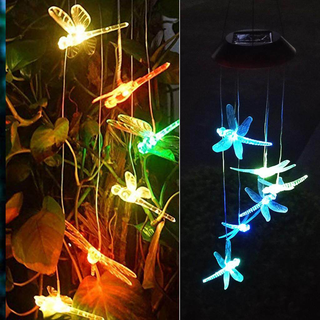 JUN TU SHOP LED Solar Powered Dragonfly Wind Chimes Light Home Garden Energy saving and environment friendly Hanging Lamp Decor for lawn, garden, patio, yard, hall, roof, living room, bed room decoration.