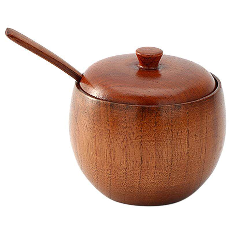 1 Set Concise Janpanese Style Solid Wood Durable Wooden Seasoning Pot Spice Jar With Spoon And Lid For Kitchen Home By Ertic