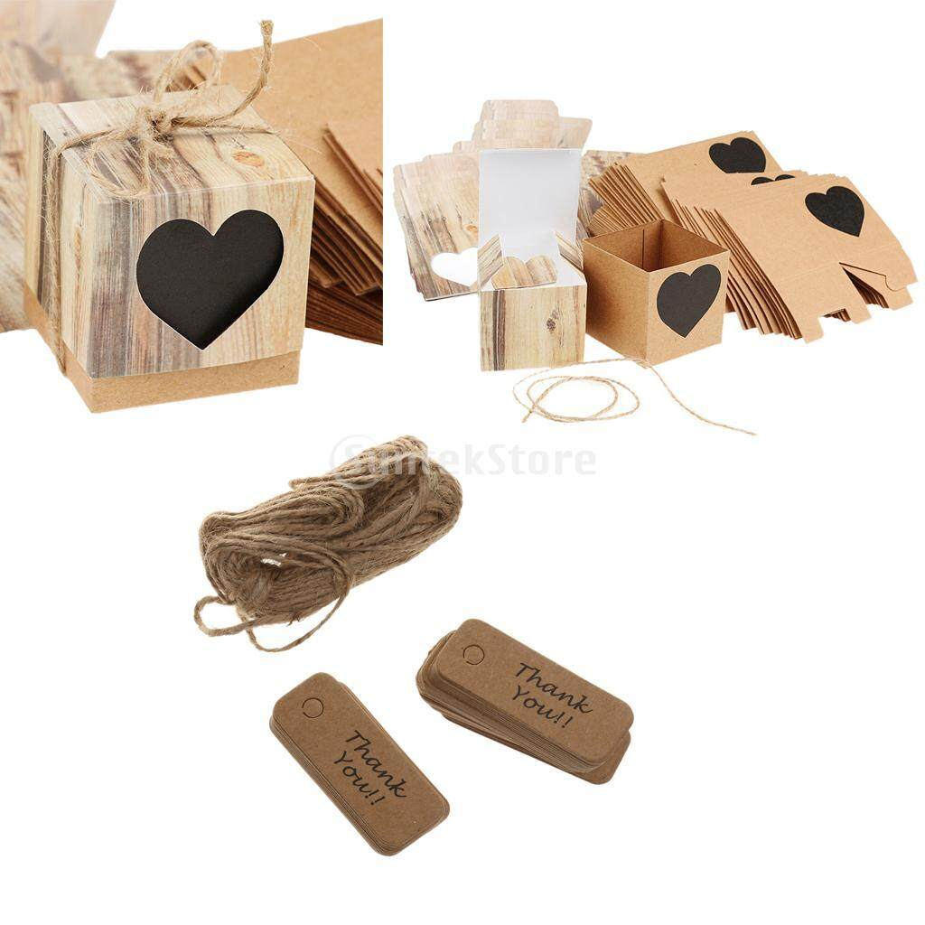 Loviver 100pcs Rustic Candy Boxes+200pcs Thank You Gift Tags Labels Wedding Favor