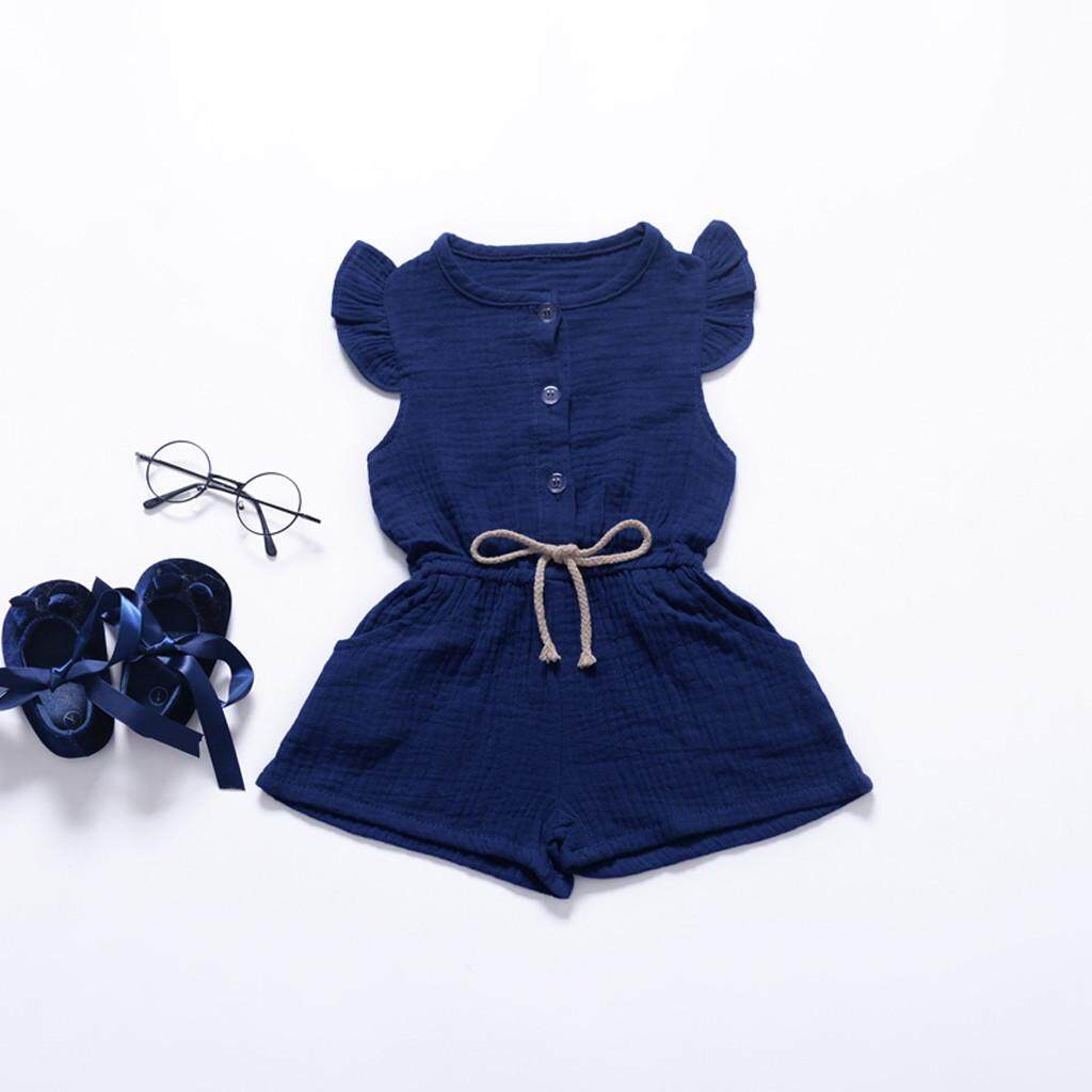 YUNY Kids Girls Denim Sleeveless Fashional Romper Jumpsuit Outfits Set Denim Blue 100