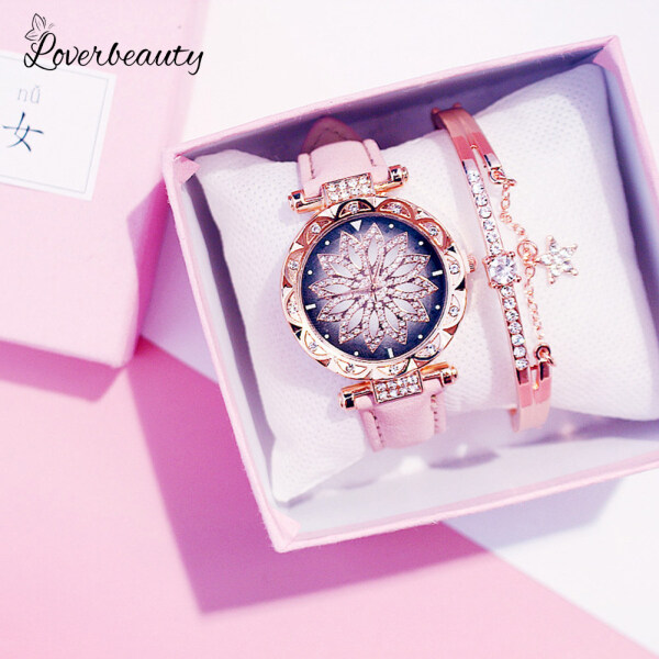 COD Ready Starry Sky Watch for Women Analog Quartz Diamond Floral Jam Tangan Life Waterproof Wristwatch Ladies Watches Gift(Without bracelet and box) Malaysia