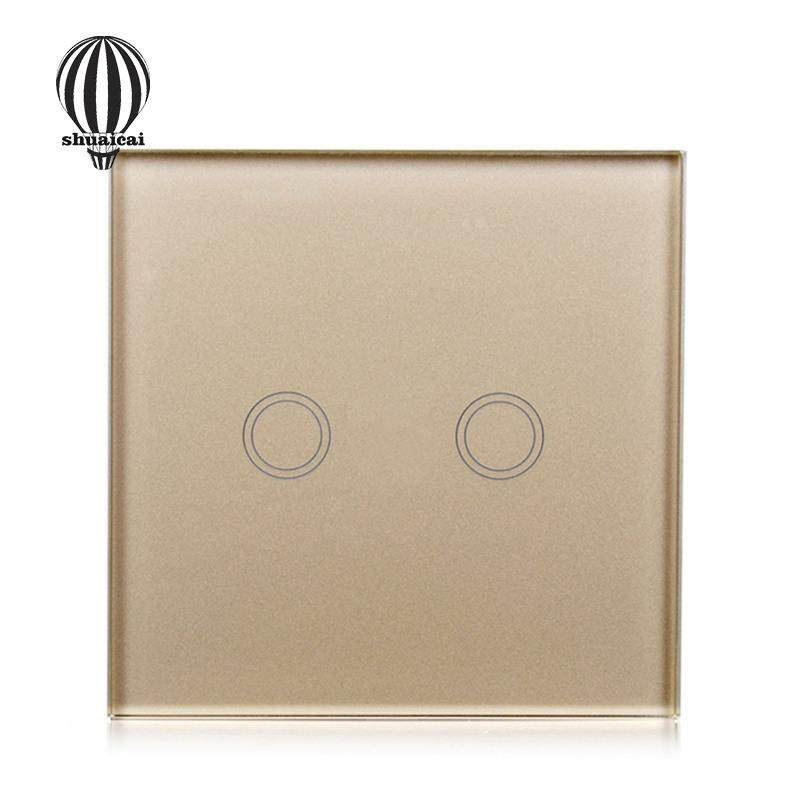 SC Single Fire Line Control Touch Switch with 2 Single Control Channels EU/UK Regulation Models:2 way gold