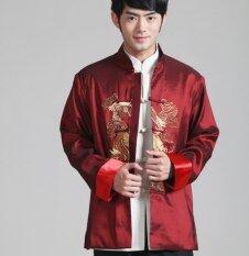 Trang Phục Truyền Thống Trung Hoa Rồng Thêu Dài Tay, Áo Sơ Mi Nam Kung Fu Võ Thuật Cổ Điển Áo Khoác Màu Đỏ Outwear