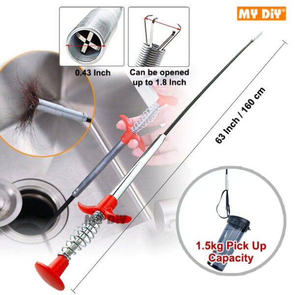 MYDIYHOMEDEPOT - Flexible Grabber Claw Pick Up Reacher Tool With 4 Claws Bendable Hose Pickup Reaching Assist Tool for Litter Pick, Home Sink, Drains, Toilet