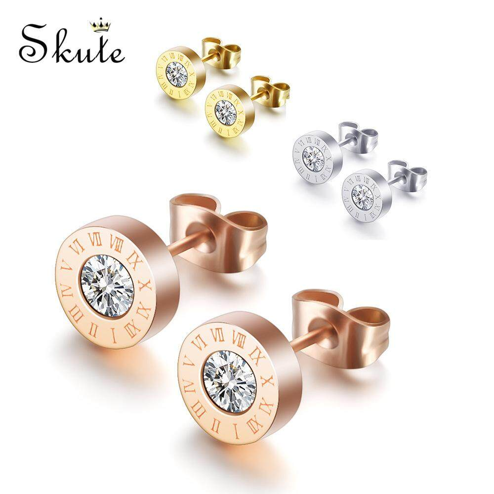 1a511819da960 ❤Skute Unisex Round Crystal Titanium Ear Stud Roman Numerals Stainless  Steel Pin Earrings for Men