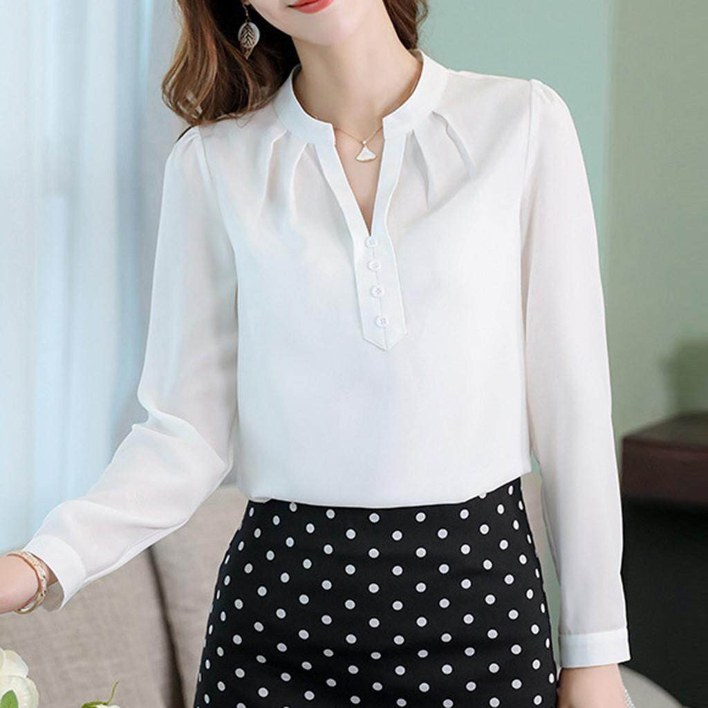 6783d83b5012 Women Work Office Long Sleeve Solid Chiffon Blouse Tee Shirt Top Korean  Loose Casual Summer Wear