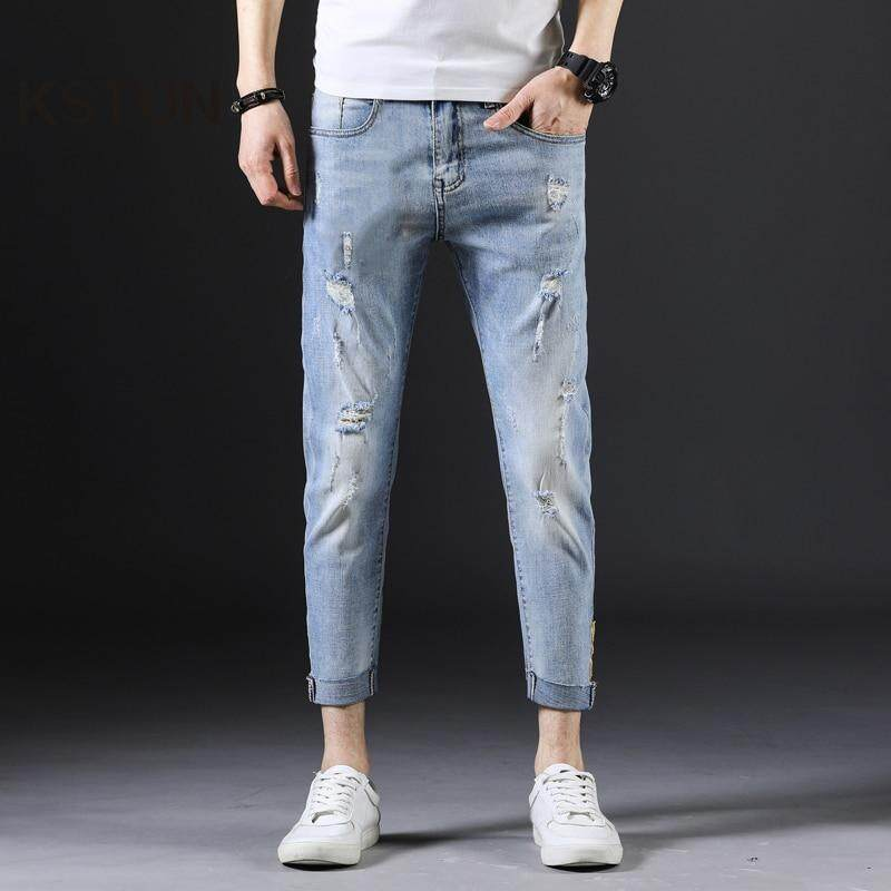0210dd57c5c15c Men's Jeans Skinny fit Thin Stretchy Sky Blue Ripped Distressed Hiphop High  Street Yong Boys Students