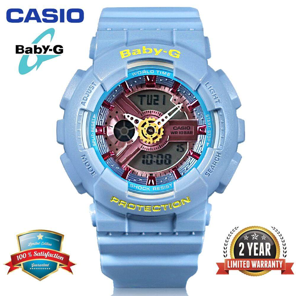 (Ready Stock)Original Casio Baby G_BA-110CA-2A Women Sport Watch Duo W/Time 200M Water Resistant Shockproof and Waterproof World Time LED Light Girl Wist Sports Watches with 2 Year Warranty BA110/BA-110 Blue Rose Gold Malaysia