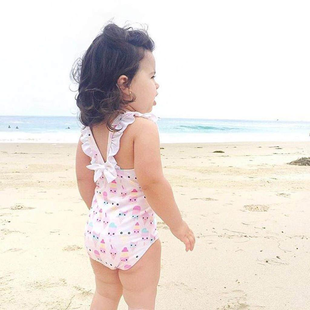 Babysmikee Toddler Baby Kids Swimsuit Ice-Cream Printed Romper Swimwear Beachwear Suit By Babysmikee.