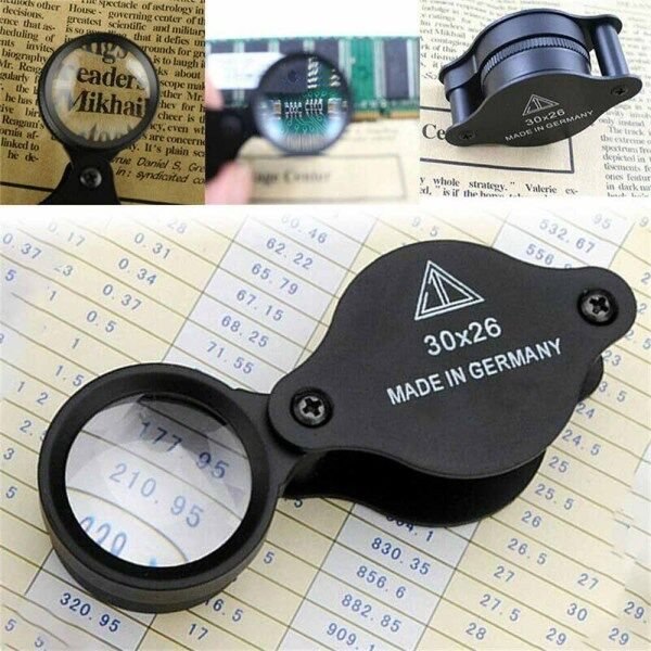 Jewellers Magnifying Loupe 30x 26mm Glass Jewellery Antiques Magnifier Hallmark