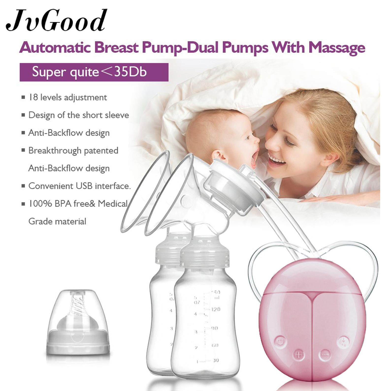 Jvgood Breast Pump Double Electronic Breastpump Manual Breast Pump Portable Food-Grade Silicone Breast Pump Milk Collector With 2 Bottles By Jvgood.