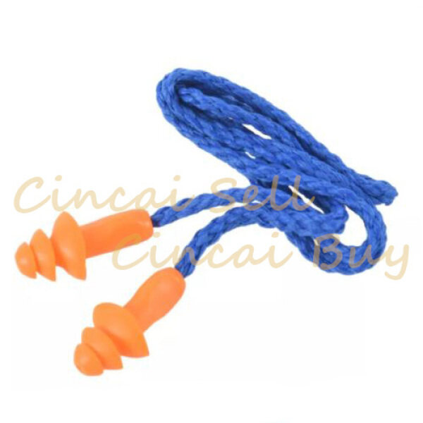 Safety Silicone Soft Ear Plugs Hearing Protection Muffs With Cord Noise Reduction for Work Home Sleeping Blue Orange