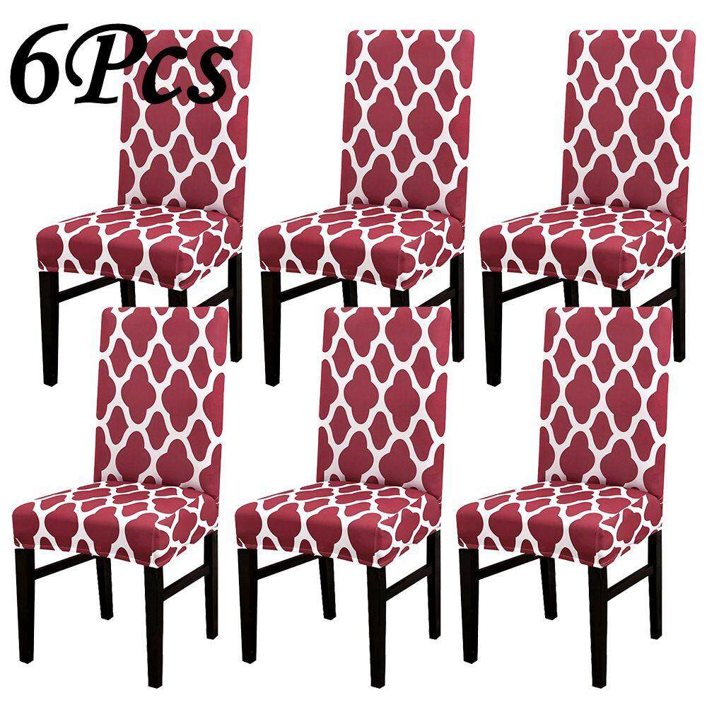 6Pcs Stretch Dining Chair Cover Geometric Printed Dining Chair Protector  Removable Washable For Dining Room Kitchen Office