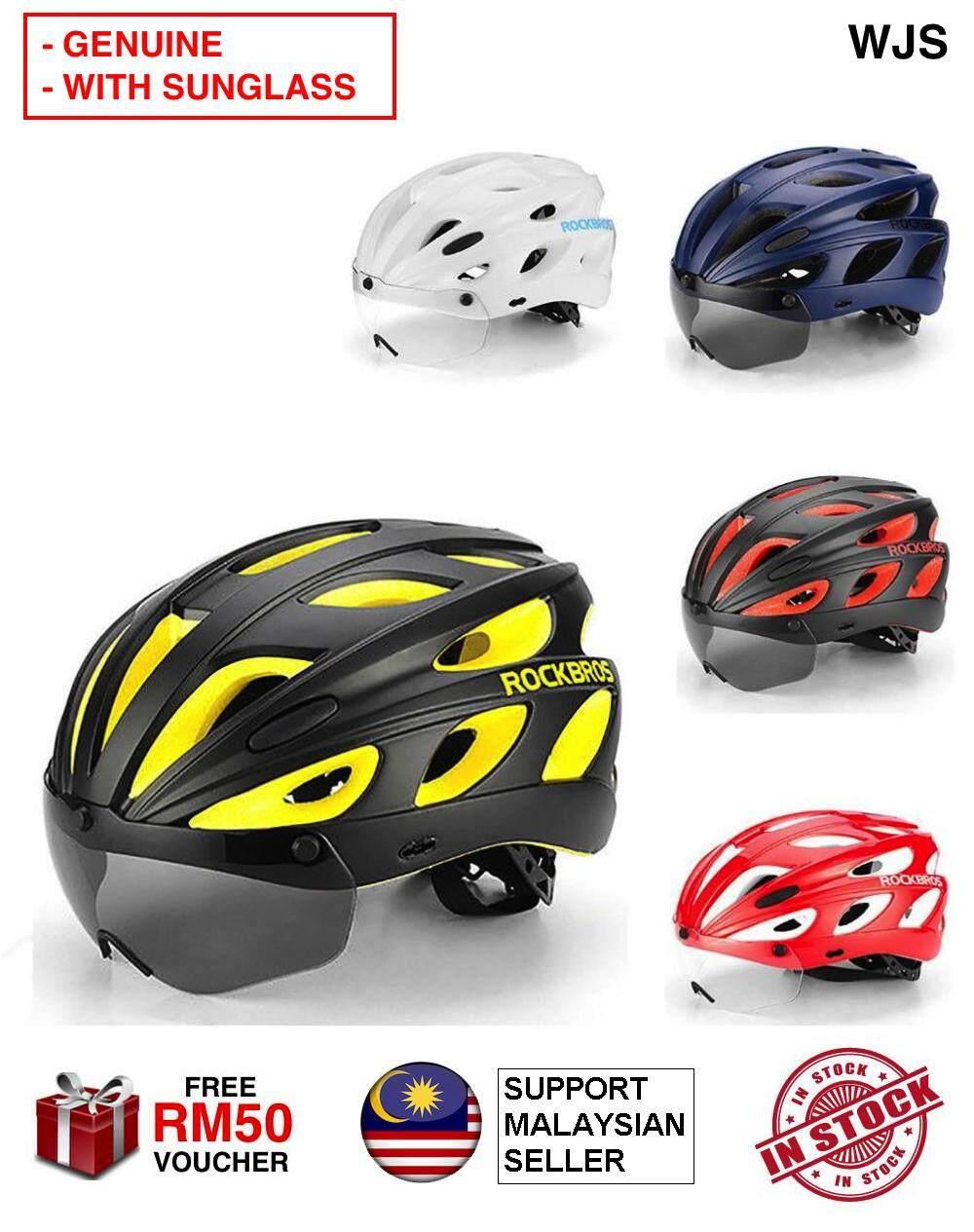 RockBros Bike Cycling MTB Road Helmets With Polarized Sunglass and Visor Red