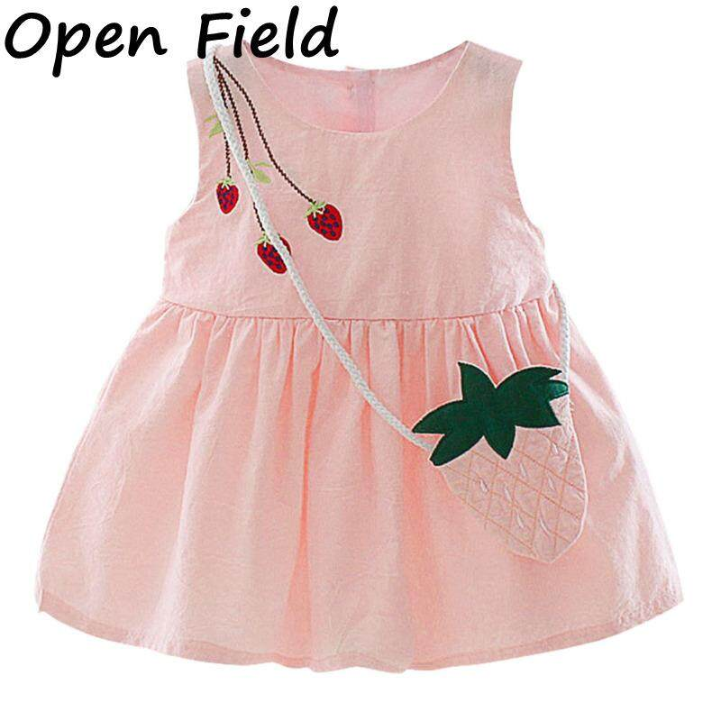 11be08ad1c1c8 Field Baby Girl Cute Solid Color Princess Dress Strawberry Printing Lace  Performance Dress For Kids