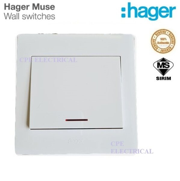 HAGER MUSE WGML2D1N 20A 1 Gang Double Pole Water Heater Air-con Switches
