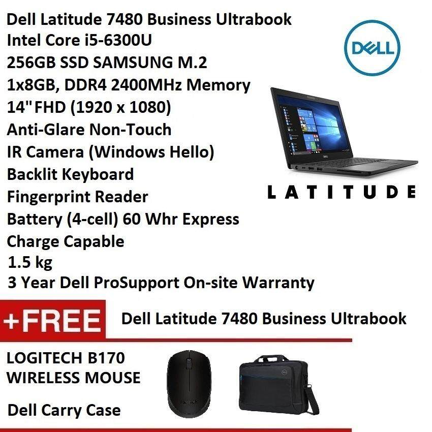 Dell Latitude 7480 (i5-6300U, 256GB SSD, 8GB RAM ,14 FHD, Win10 Pro, 3 Years ProSupport) Business Ultrabook Notebook [Display Set 99% New] Malaysia