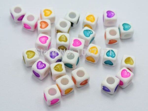 Bảng giá 200 Cái 7X7Mm Hỗn Hợp Màu Cube Acrylic Hạt Trái Tim Tình Yêu Trang Trí Thủ Công Mỹ Nghệ Cho Các Phụ Kiện Trang Sức Điện máy Pico