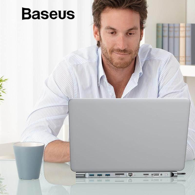 Baseus Multi 10in1 USB Type C HUB to HDMI VGA RJ45 USB 3.0 HUB Converter with SD/TF Card Reader USB C Adapter for Macbook Pro