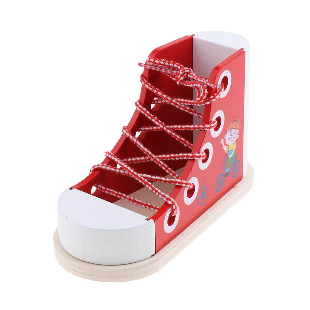 BolehDeals Kids Wooden Lacing Sneakers Red Lace Up Shoe Basic & Life Skills Toy