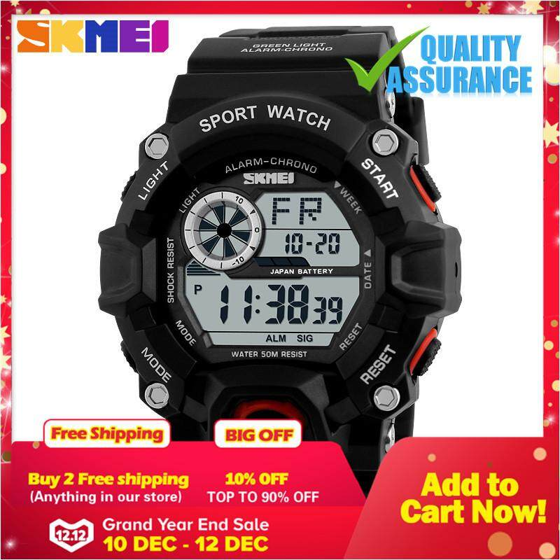Skmei 1019 Digital Watch Men Camouflage Military Army Wrist Watch Military Sports Watches Men Alarm 50M Waterproof Watch LED Back Light Shock Digital Wristwatches (Black Red) Malaysia