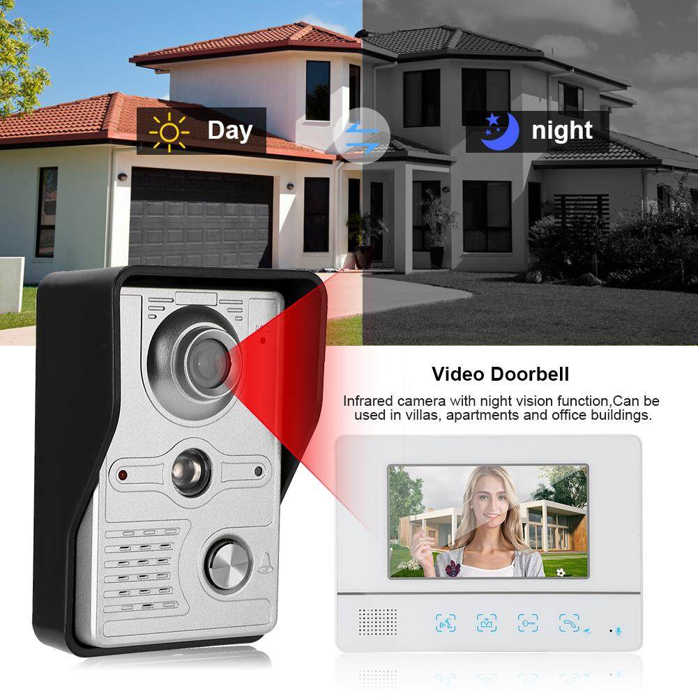 7in Video Doorbell Intercom Tft Touch Screen Night Vision Door Phone 100-240v.