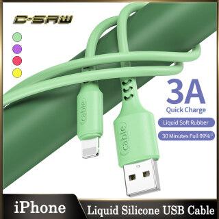 C-SAW Cáp USB Silicon Lỏng 1.2M 3.0A, Táo Cho iPhone 5 6 6S 6P 6Plus 11 11PRO 11PROMAX PRO 7 7P 7Plus 8 8P 8Plus XR X XS XSMAX 12 SE Điện Thoại Di Động IOS iPad Sạc Dữ Liệu Nhanh Dây Cáp USB Dây Cáp Silicon Lỏng thumbnail