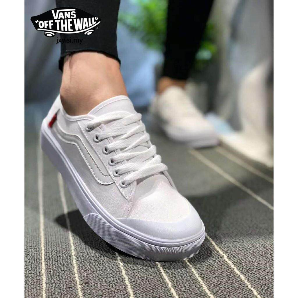 7edf4a0180 100% ☆ Summer Vans Old Skool girls pure white canvas flat shoes women s  men s sneakers