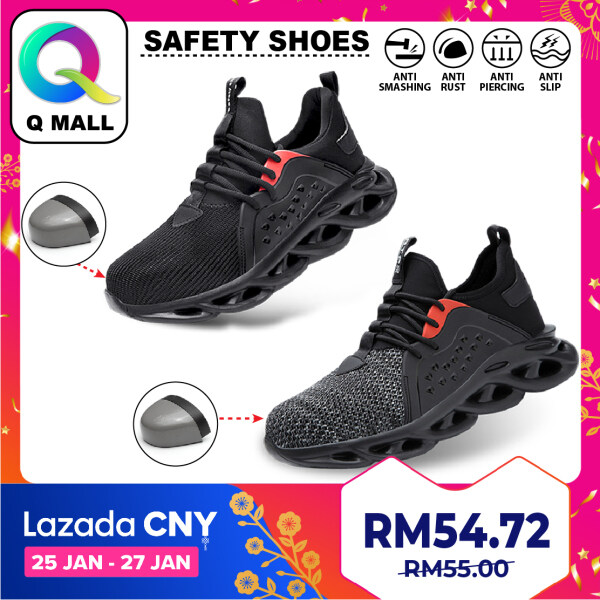 Q MALL HIGH QUALITY Safety Shoes Protective Steel Toe Cap Boots Anti-Smashing 808 - Black / Grey