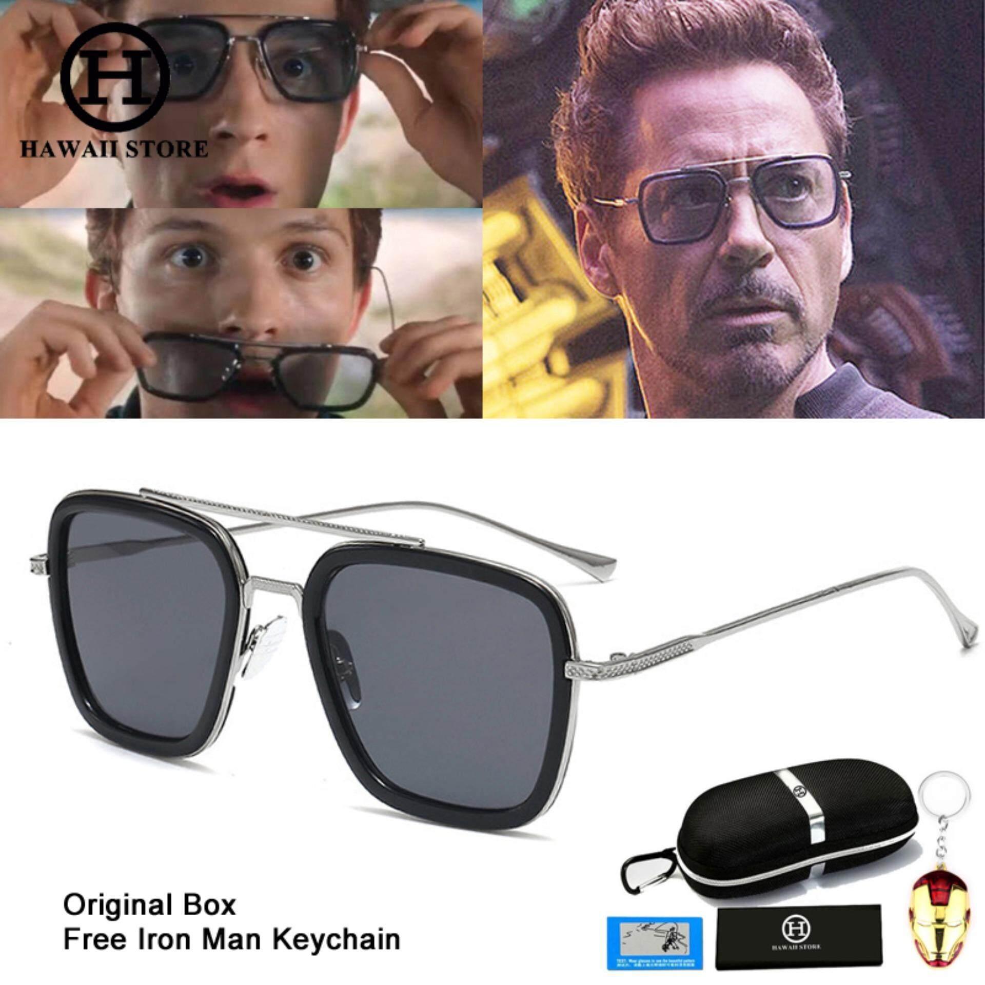 7ceda6629e3393 Hawaii Collection Fashion Avengers Tony Stark Flight 006 Style Sunglasses  Men Square Aviation Brand Design Sun