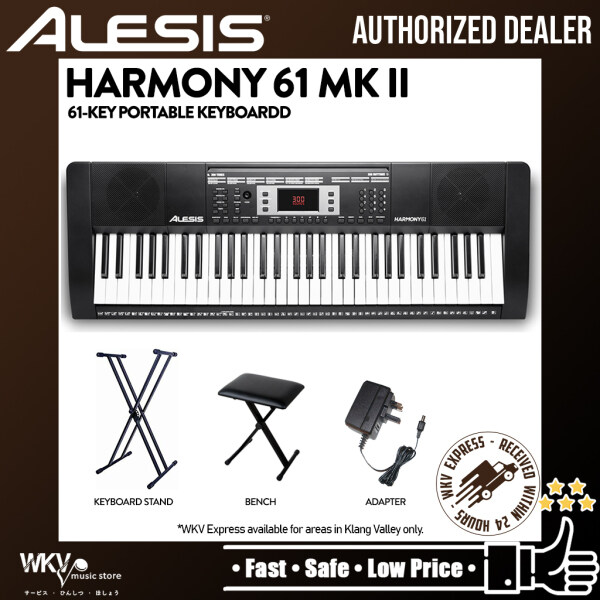 Alesis Harmony 61 MKII 61-Key Portable Keyboard with Built-In Speakers with Bench and Stand (Harmony61/Harmony-61) Malaysia