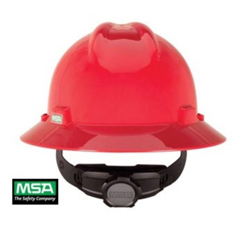 MSA V-Gard Helmet Full Brim Hard Hat Head Protection with Fastrac III(stock 2019)
