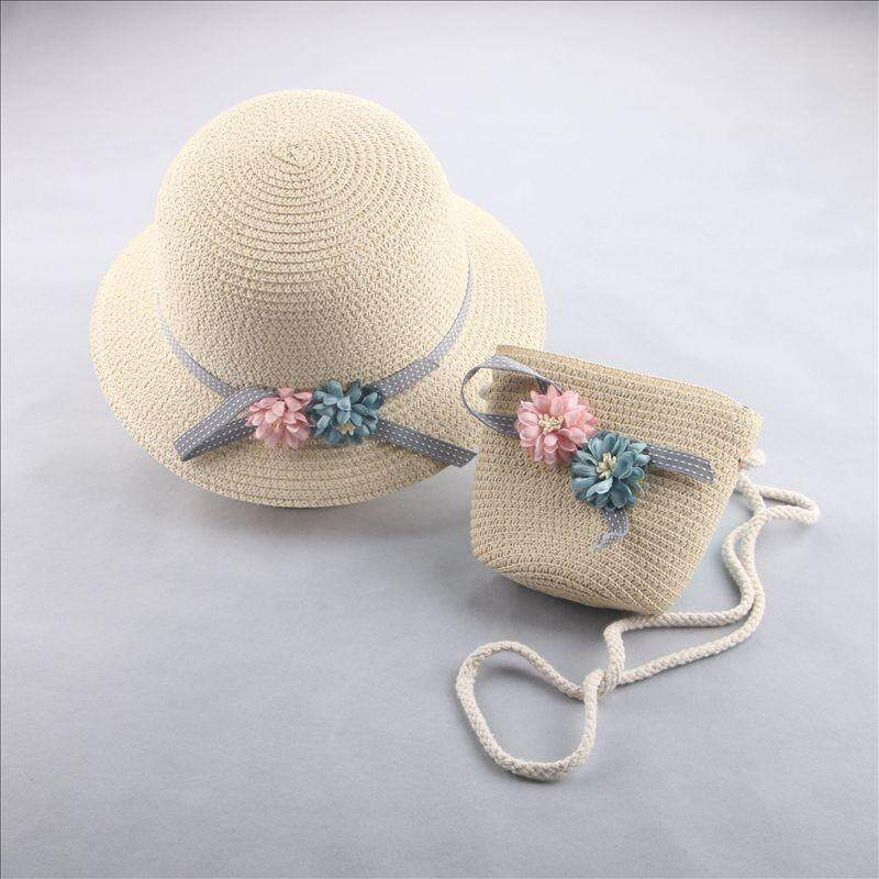 19fbcb632e0 ❤️Cutiebaby Kids Girl Toddler Flower Summer Straw Weave Hat Travel Beach Sun  Cap+Sling