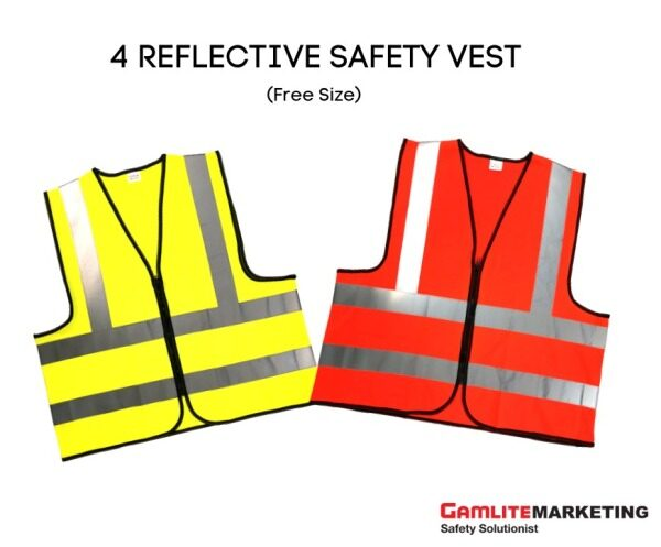 ENISO 20471 HIGH VISIBILITY REFLECTIVE SAFETY VEST, ZIPPER, FREE SIZE (ORANGE/YELLOW) - READY STOCK