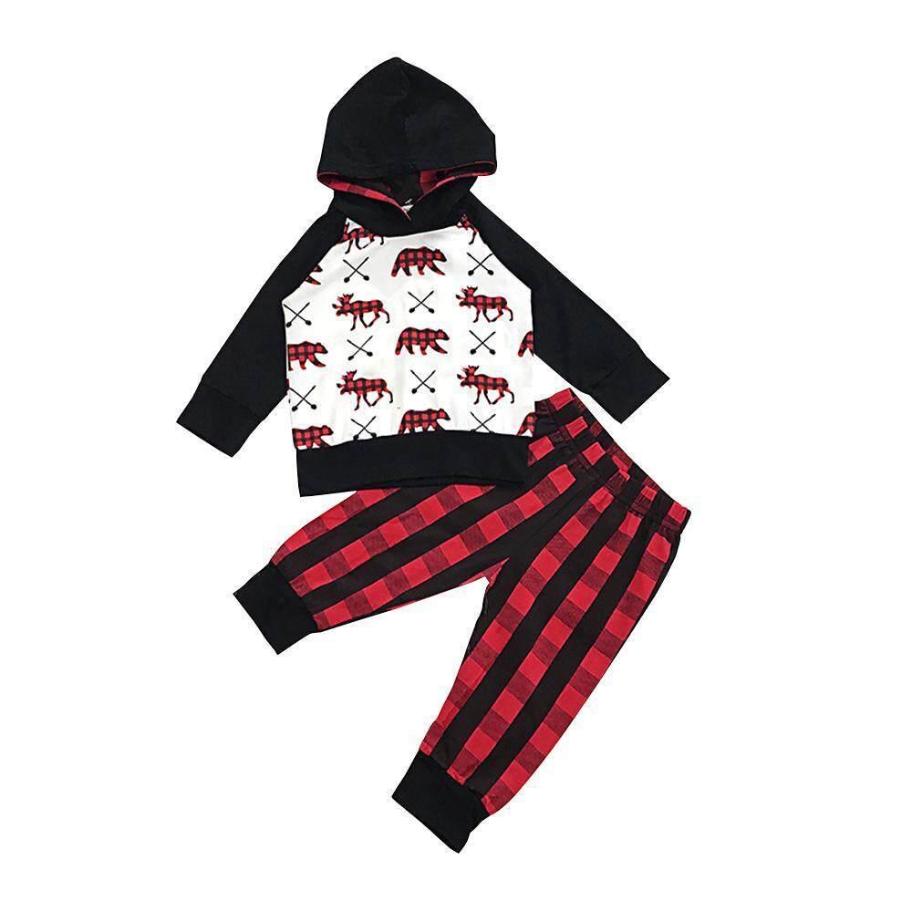 c0ac5f7c4 niceEshop Baby Boy Clothes Bear Deer Printed Long Sleeve Hoodie Tops +Red Plaid  Pants Outfit
