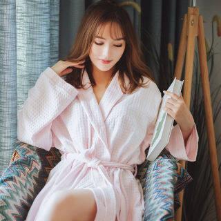 Áo Choàng Tắm Cuộc Sống IHOME Đồ Ngủ Nữ Bằng Lụa Váy Ngủ Dài Tay Ngoại Cỡ Vải Cotton Mềm Mại Thường Ngày Thời Trang Đèn Gia Đình Màu Trơn Hàn Quốc, Áo Ngủ Rộng Tay Dài Giảm Giá 2021 Mới thumbnail