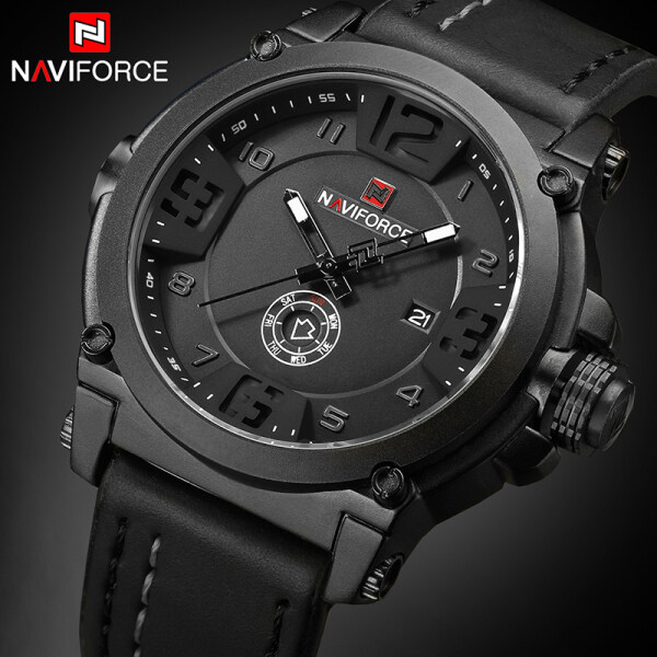 NAVIFORCE Top Brand Mens Watches Fashion Men Leather Quartz Date Clock Casual Men Sport Waterproof Watch Malaysia