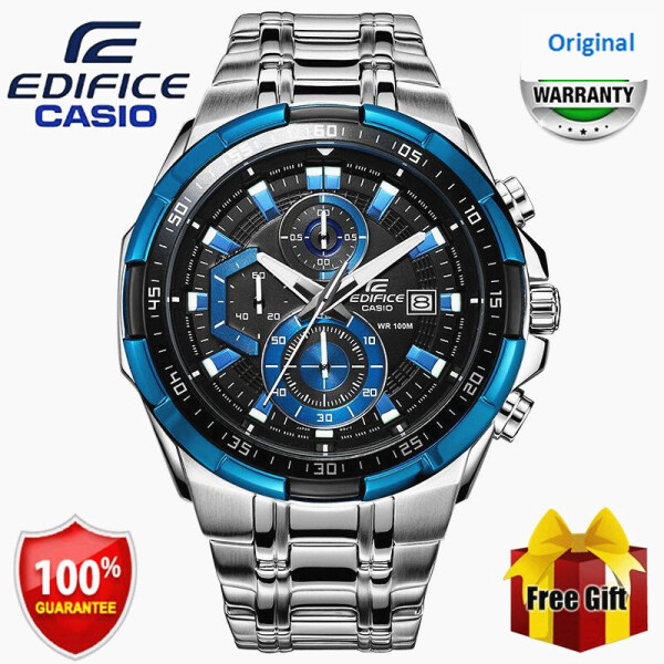 (HOT SALE) Original Edifice EFR539 Chronograph Men Business Fashion Watch 100M Water Resistant Shockproof Waterproof Full Auto-Calendar Stainless Steel Mens Quartz Wrist Watches EFR-539D-1A2 Black Blue Silver (Free Shipping with Gift) Malaysia