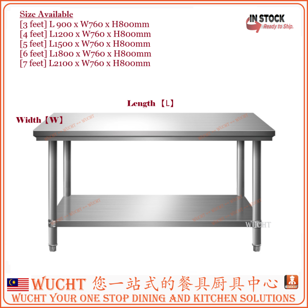 【WUCHT】3 Feet Working Table Heavy Duty Stainless Steel Food Preparation Table W920xL760xH800mm - Commercial Grade Work Table - Good For Restaurant, Business, Warehouse, Home, Kitchen, Garage L900 x W760 x H800mm